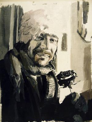 Bob Hansson-porträtt av Hanna Nilsson.