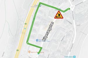 Så här kommer trafiken att ledas om under arbetet. Karta: Google Maps. Bild: Robin Brinck.