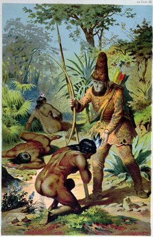Robinson Crusoe har fritagit Fredag från kannibaler. Illustration av Carl Offterdinger.