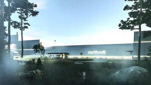 Skiss över Northvolts planerade anläggning.Illustration av Northvolt, avfotograferad av Tony Persson.