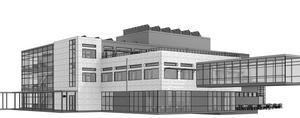 Hus M kommer att se ut på följande sätt från nordväst. Till höger i bilden syns glasövergången till hus B. Skiss: Sydnärkes utbildningsförbund
