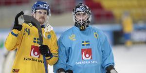 Anders Svensson tillsammans med liberon Martin Johansson under VM i Chabarovsk förra året.