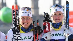 Maja Dahlqvist (th) ser inte ljust på chansen till en OS-plats. Bild: TT.