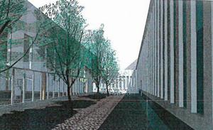 Nya hallen byggs en bit från nuvarande anläggning. Byggnaderna kopplas ihop med två passager. Illustration: agnasARK.