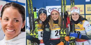 Charlotte Kalla tillsammans med Therese Johaug och Ebba Andersson.