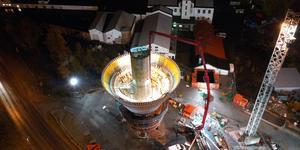 Första delen av vattenreservoaren har gjutits. Nu formar man och armerar resten. Bild: Fredrick Wirén