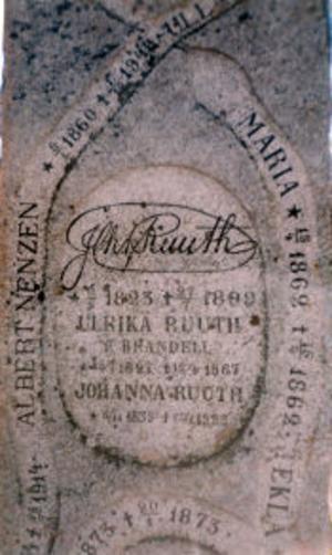 Familjen Ruuths gravsten på Stöde kyrkogård.