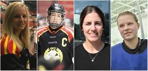 Historiska Brynässpelare. Lara Stalder, Erika Grahm, Michela Cava och Maja Nylén Persson är de fyra som ska spela klassiska Svarta mot Vita på torsdag med och mot Brynäs herrlag och NHL-proffs.