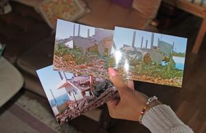 Dana Alayan visar bilder på familjens hus i Libanon som bombats sönder.
