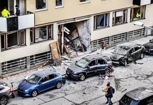 Stor förödelse efter en sprängning vid ett flerfamiljshus på Östermalm i Stockholm i början av året.