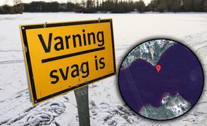 Fotomontage.Foto: TT Nyhetsbyrån och Google Maps.Älg drunknade i strömmen – räddningstjänsten: