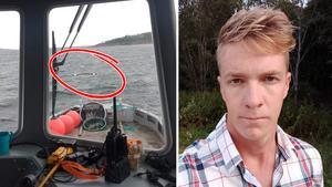 Med hjälp av vindriktningen kunde besättningen från fiskodlingen i Köpmanholmen räkna ut var den kapsejsade kanoten kunde finnas. Oskar Hammarstedt befann sig påbåten. Bilder: Oskar Hammarstedt