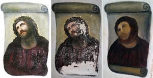 Även om jag hade velat hade jag ju inte kunnat undanhålla läsekretsen denna bild från en mindre lyckad restaurering av kristet konstverk i Spanien.