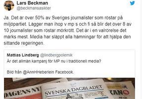 Journalister har en vänsteragenda, i synnerhet i Public service, i alla fall enligt Lars Beckman. skärmdump från Twitter.