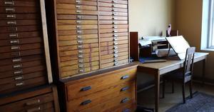 Kontorsrummen är också bevarade. I dag är ritningarna inskannade och digitaliserade.