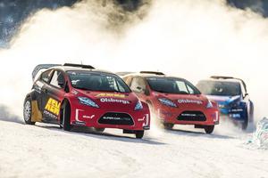 Rally X on ice avgörs i bilar som är kostruerade av OMSE i Nynäshamn.
