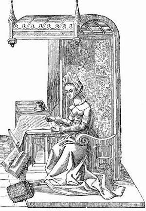 Christine de Pizan vid sin arbetsplats. Illustration av Frederick Litchfield