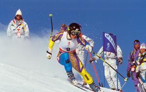 Pernilla Wiberg på väg mot guldet i storslalom i OS 1992.