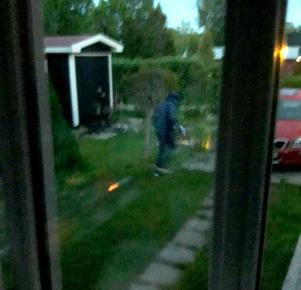 Här drar gärningsmannen från gården när han märker att han har blivit upptäckt. Bild: Roger Hjortén