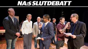Från politikerdebatten på länsteatern inför valet 2018, som leddes av NA:s ledarskribenter Lars Ströman och David Linden.