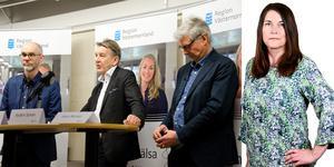 Mats Brännström , Anders Sylvan och Hans Boman, under en presskonferens angående coronavirusets utbredning i Västernorrland.