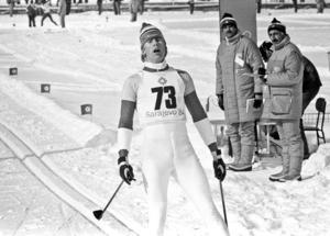 Gunde Svan efter målgången på 15 km i Sarajevo-OS.
