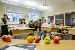 Några elever hade tagit med frukt till lärarinnan i hopp om ett extra bra betyg.