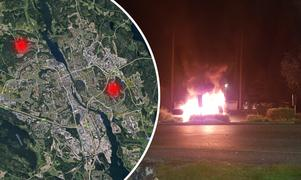 Kartan visar var bilbränderna var på tisdagskvällen. Bilden är ett montage. Bild: Google Maps och Ram Albadri