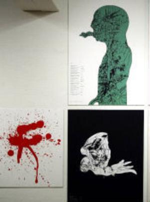 Några av Dan Jonsson verk, som ställs ut på museet i samband med den övergripande utställningen om grafisk form.