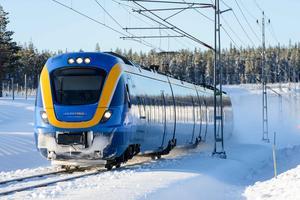 Train from Norrtåg to Botniabanan south of Umeå. Photo: Peter Garpefjäll / archive photo