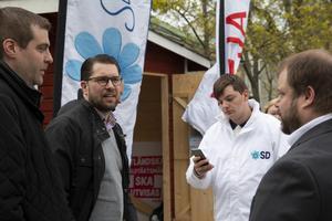 Bilden togs när Jimmie Åkesson besökte Hudiksvall under valrörelsen inför EU-valet tidigare i år.