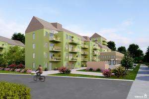 Området sett från norr. På vårdcentralen kan det bli en takterass. Inne i kvarteret blir det ett sammanhängande grönstråk. Illustration: Sweco Architects