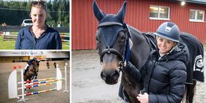 Alexandra Esbjörnsdotter från Brunflo ryttarsällskap med hästen Countach K vann två tävlingar under helgen. Högst upp till höger arrangören Alexandra Bergh. Bilder: Filip Gustafsson Högman och arkivbild