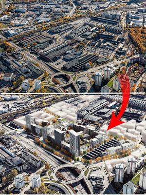 Kopparlunden närmast E 18. Högst upp som det ser ut idag. Längst ned en framtidsbild, med en lång rad av höghus  längs motorvägen.Foto: Britt-Louise Bergström/ Fojab