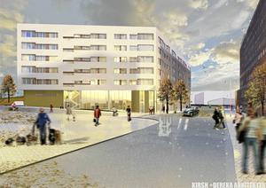Det nya huset sett från Köpmangatan. Bild: Södertälje kommun/ByggVesta