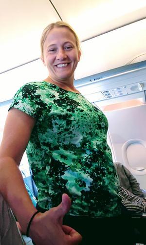 Foto: Privat Evren Yilmaz  Bild från flyget efter händelsen Helena Carlsson meddelar att allt var okej.