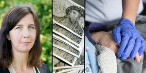 Anna Andersson, chefen för sociala sektorn, förklarar att bonusen främst finns till för att den ordinarie personalen ska få återhämtning. Foto: TT samt Carl Lindblad