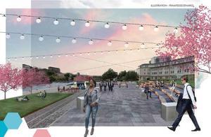 Utöver hotell- och konferensanläggning finns även planer på en social mötesplats vid vattnet med mycket grönska och sittplatser, kanske även uteserveringar.Bild: Södertälje kommun/Mareld arkitekter