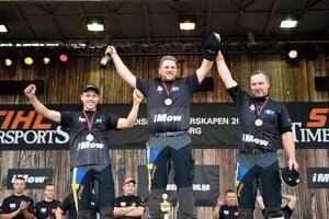 Sverige dominerade prispallen i de individuella tävlingarna i nordiska mästerskapen 2017. Från vänster: Ferry Svan, Calle Svadling, Hans-Ove Hansson. Foto: Bobbo Lauhage.