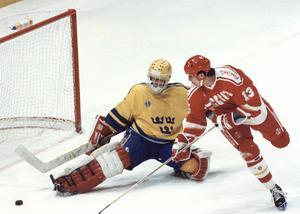 Peter Åslin vaktar kassen när Tre Kronor mötte Sovjetunionen i VM 1989.