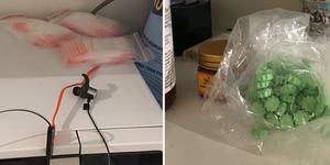 På micron i mannens kök låg cirka 300 red-line-påsar och i ett skåp över spisen låg en påse med 78 ecstasytabletter. Foto: Bild från polisens förundersökning
