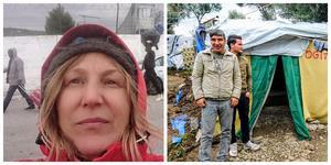 Foto: Yvonne Perkins.                                                                                                                              Yvonne Perkins i flyktinglägret i Moria på ön Lesbos.  På den andra bilden Hassan Resa Ibrahimi och Muhammad Haydary utanför bostaden som Hassan byggt själv med material han köpt av en annan flykting.