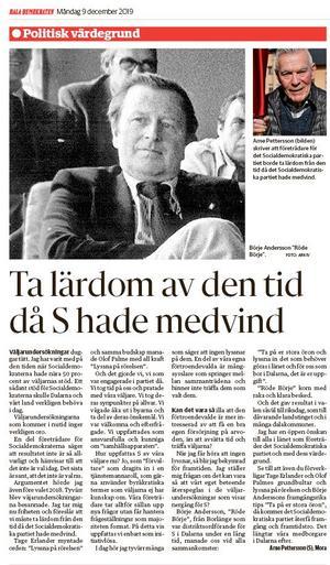I DD den 9 december 2019 publicerades Arne Petterssons insändare