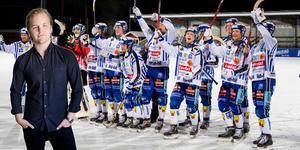 Villa jublar efter 12–3 mot Falu BS på Lugnet – en av många övertygande segrar under elitserien. Foto: Ulf Palm / TT