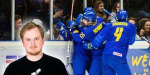 Småkronorna tog Sveriges första, historiska guld i U18-VM-sammanhang i ishockey på söndagen. Spelplatsen: Fjällräven Center, Örnsköldsvik. Ett enormt drama där avgörandet kom i sudden death genom Lucas Raymond. Bild: Johan Löf/Bildbyrån