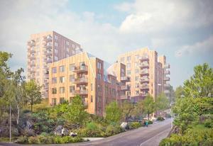 Illustration: BTH Bostad   Tre höghus ska byggas på Höjdgatan i Nynäshamn.