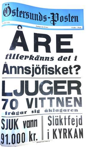 ÖP:s löpsedel 12 november 1958.