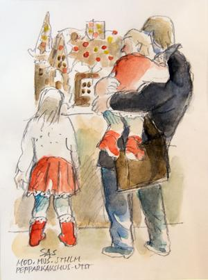 Pepparkakshusutställning i Stockholm. Vi kan lugnt lita på att den här familjen såg ut precis så här.