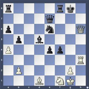 Lösning: 1.Dh8+ Kf7 2.Lh5.