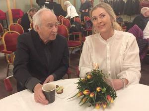 Gösta Nilsson i samtal med Karin Mattson efter SPF:s årsmöte. Foto: Per Söderberg